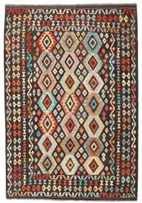 Kelim Afghan Old Style Matto 176X256 Itämainen Käsinkudottu Tummanruskea/Tummanbeige (Villa, Afganistan)