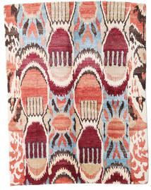 Sari 100% Silkki Matto 154X204 Moderni Käsinsolmittu Beige/Tummanpunainen (Silkki, Intia)