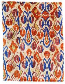 Sari 100% Silkki Matto 155X203 Moderni Käsinsolmittu Beige/Tummanpunainen (Silkki, Intia)
