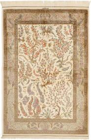 Ghom Silkki Matto 100X148 Itämainen Käsinsolmittu Beige/Vaaleanruskea (Silkki, Persia/Iran)