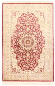 Ghom Silkki Matto 132X201 Itämainen Käsinsolmittu Beige/Vaaleanpunainen (Silkki, Persia/Iran)