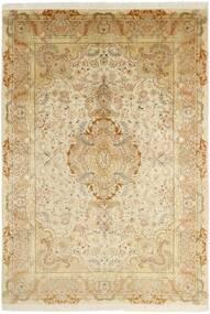 Tabriz 50 Raj Matto 202X295 Itämainen Käsinsolmittu Beige/Tummanbeige/Vaaleanruskea (Villa/Silkki, Persia/Iran)