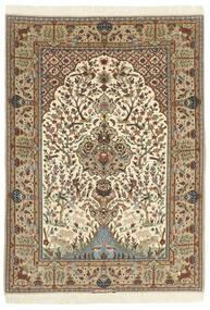 Isfahan Silkkiloimi Matto 130X190 Itämainen Käsinsolmittu Ruskea/Vaaleanruskea (Villa/Silkki, Persia/Iran)