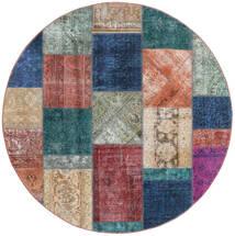 Patchwork - Persien/Iran Matto Ø 200 Moderni Käsinsolmittu Pyöreä Vaaleanharmaa/Ruskea (Villa, Persia/Iran)