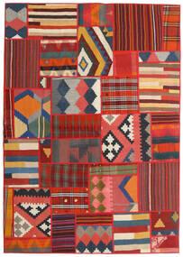 Tekkeh Kelim Matto 141X202 Moderni Käsinkudottu Tummanharmaa/Tummanpunainen (Villa, Persia/Iran)