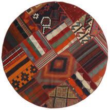 Tekkeh Kelim Matto Ø 150 Moderni Käsinkudottu Pyöreä Tummanpunainen/Musta (Villa, Persia/Iran)
