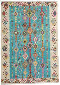 Kelim Afghan Old Style Matto 203X283 Itämainen Käsinkudottu Siniturkoosi/Tummanbeige (Villa, Afganistan)