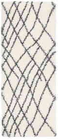 Shaggy Tangier - Valkoinen/Tummanharmaa Matto 80X200 Moderni Käytävämatto Beige/Valkoinen/Creme ( Turkki)