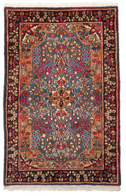 Kerman Matto 96X148 Itämainen Käsinsolmittu Tummanpunainen/Tummanruskea (Villa, Persia/Iran)