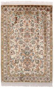 Kashmir 100% Silkki Matto 63X94 Itämainen Käsinsolmittu Ruskea/Vaaleanharmaa (Silkki, Intia)