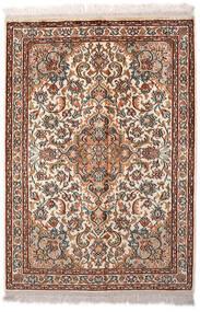 Kashmir 100% Silkki Matto 65X94 Itämainen Käsinsolmittu Vaaleanruskea/Tummanruskea (Silkki, Intia)
