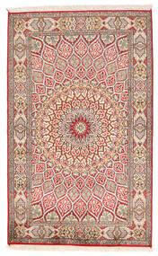 Kashmir 100% Silkki Matto 94X150 Itämainen Käsinsolmittu Keltainen/Vaaleanharmaa (Silkki, Intia)