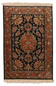 Kashmir 100% Silkki Matto 63X93 Itämainen Käsinsolmittu Musta/Tummanruskea (Silkki, Intia)