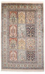 Kashmir 100% Silkki Matto 93X143 Itämainen Käsinsolmittu Vaaleanharmaa/Ruskea (Silkki, Intia)
