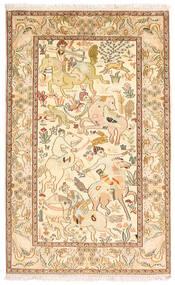 Kashmir 100% Silkki Matto 94X152 Itämainen Käsinsolmittu Ruskea/Keltainen (Silkki, Intia)
