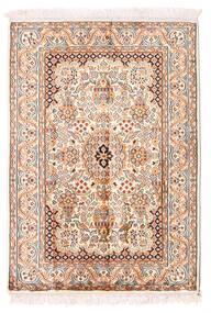 Kashmir 100% Silkki Matto 66X94 Itämainen Käsinsolmittu Beige/Vaaleanpunainen (Silkki, Intia)