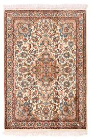 Kashmir 100% Silkki Matto 64X94 Itämainen Käsinsolmittu Keltainen/Tummanruskea (Silkki, Intia)