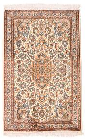 Kashmir 100% Silkki Matto 63X98 Itämainen Käsinsolmittu Keltainen/Vaaleanpunainen (Silkki, Intia)