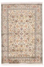 Kashmir 100% Silkki Matto 126X184 Itämainen Käsinsolmittu Vaaleanharmaa/Keltainen (Silkki, Intia)