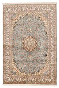 Kashmir 100% Silkki Matto 127X188 Itämainen Käsinsolmittu Tummanruskea/Vaaleanharmaa (Silkki, Intia)