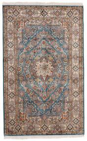 Kashmir 100% Silkki Matto 97X155 Itämainen Käsinsolmittu Vaaleanharmaa/Beige (Silkki, Intia)