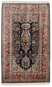 Kashmir 100% Silkki Matto 77X125 Itämainen Käsinsolmittu Tummanruskea/Vaaleanharmaa (Silkki, Intia)