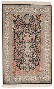 Kashmir 100% Silkki Matto 78X126 Itämainen Käsinsolmittu Vaaleanharmaa/Tummanruskea (Silkki, Intia)