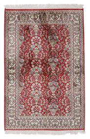 Kashmir 100% Silkki Matto 80X122 Itämainen Käsinsolmittu Vaaleanharmaa/Valkoinen/Creme (Silkki, Intia)