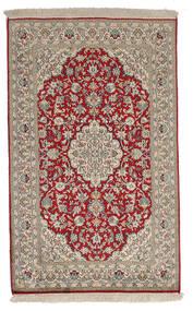 Kashmir 100% Silkki Matto 77X124 Itämainen Käsinsolmittu Vaaleanharmaa/Tummanpunainen (Silkki, Intia)