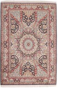 Kashmir 100% Silkki Matto 128X183 Itämainen Käsinsolmittu Vaaleanharmaa/Vaaleanpunainen (Silkki, Intia)
