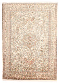 Kashmir 100% Silkki Matto 170X246 Itämainen Käsinsolmittu Beige/Keltainen (Silkki, Intia)