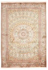 Kashmir 100% Silkki Matto 130X187 Itämainen Käsinsolmittu Beige/Keltainen (Silkki, Intia)