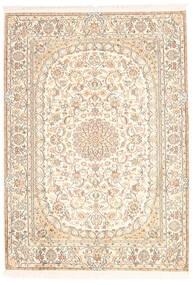 Kashmir 100% Silkki Matto 128X181 Itämainen Käsinsolmittu Beige/Keltainen (Silkki, Intia)