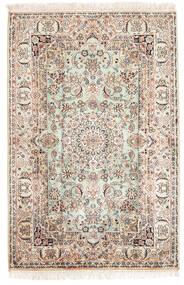 Kashmir 100% Silkki Matto 84X126 Itämainen Käsinsolmittu Ruskea/Vaaleanruskea (Silkki, Intia)