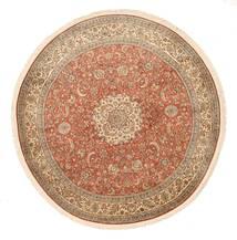 Kashmir 100% Silkki Matto Ø 180 Itämainen Käsinsolmittu Pyöreä Ruskea/Tummanpunainen (Silkki, Intia)