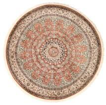 Kashmir 100% Silkki Matto Ø 183 Itämainen Käsinsolmittu Pyöreä Ruskea/Tummanpunainen (Silkki, Intia)