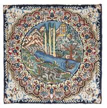 Kerman Matto 53X53 Itämainen Käsinsolmittu Neliö Tummanharmaa/Tummanruskea (Villa, Persia/Iran)