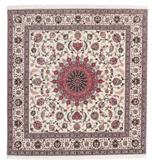 Tabriz 60 Raj Silkkiloimi Matto 206X210 Itämainen Käsinsolmittu Neliö Vaaleanharmaa/Vaaleanvioletti (Villa/Silkki, Persia/Iran)
