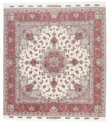 Tabriz 60 Raj Silkkiloimi Matto 205X207 Itämainen Käsinsolmittu Neliö Beige/Vaaleanharmaa (Villa/Silkki, Persia/Iran)