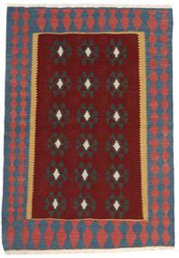 Kelim Matto 100X147 Itämainen Käsinkudottu Tummanpunainen/Tummanharmaa (Villa, Persia/Iran)