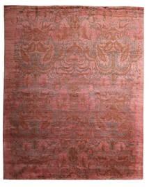 Damask Indo Matto 237X291 Moderni Käsinsolmittu Tummanpunainen/Ruskea (Villa/Bambu Silkki, Intia)