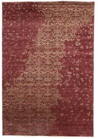 Damask Indo Matto 204X300 Moderni Käsinsolmittu Tummanpunainen (Villa/Bambu Silkki, Intia)