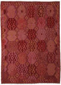 Kelim Afghan Old Style Matto 210X289 Itämainen Käsinkudottu Tummanpunainen (Villa, Afganistan)