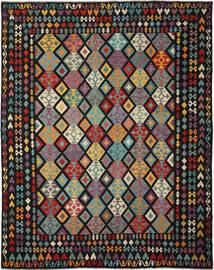 Kelim Afghan Old Style Matto 317X397 Itämainen Käsinkudottu Musta/Tummanvihreä Isot (Villa, Afganistan)
