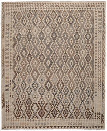 Kelim Afghan Old Style Matto 309X374 Itämainen Käsinkudottu Tummanruskea/Ruskea Isot (Villa, Afganistan)