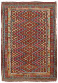 Kelim Afghan Old Style Matto 215X304 Itämainen Käsinkudottu Tummanruskea/Tummanvihreä (Villa, Afganistan)