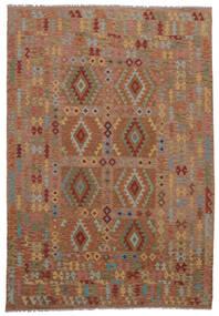 Kelim Afghan Old Style Matto 211X298 Itämainen Käsinkudottu Tummanruskea (Villa, Afganistan)