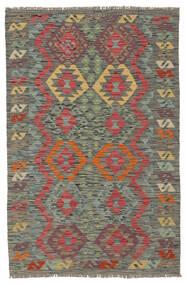 Kelim Afghan Old Style Matto 102X157 Itämainen Käsinkudottu Tummanvihreä/Tummanpunainen (Villa, Afganistan)
