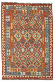 Kelim Afghan Old Style Matto 128X184 Itämainen Käsinkudottu Tummanpunainen/Tummanharmaa (Villa, Afganistan)