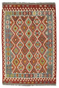 Kelim Afghan Old Style Matto 126X187 Itämainen Käsinkudottu Tummanpunainen/Valkoinen/Creme (Villa, Afganistan)